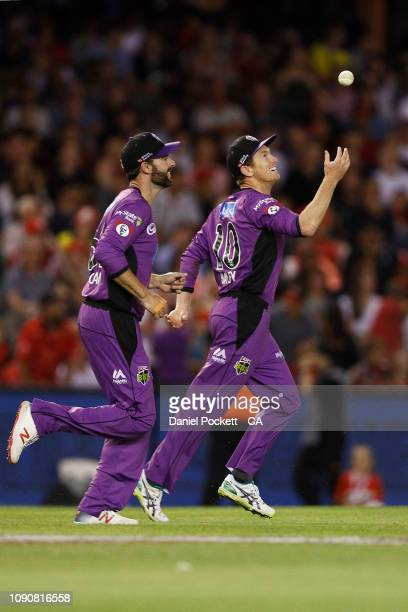 George Bailey of the Hurricanes celebrates after catching out Tom Cooper of the Renegades during the Big Bash League match between the Melbourne...