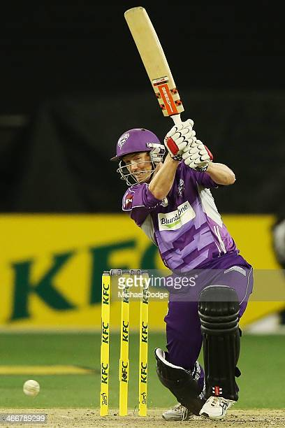 George Bailey of the Hurricanes plays a shot during the Big Bash League Semi Final match between the Melbourne Stars and the Hobart Hurricanes at...