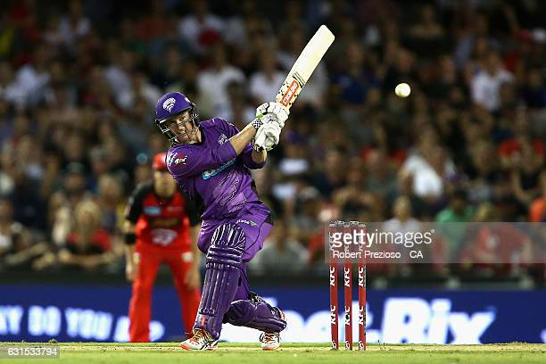 George Bailey of the Hurricanes plays a shot during the Big Bash League match between the Melbourne Renegades and the Hobart Hurricanes at Etihad...