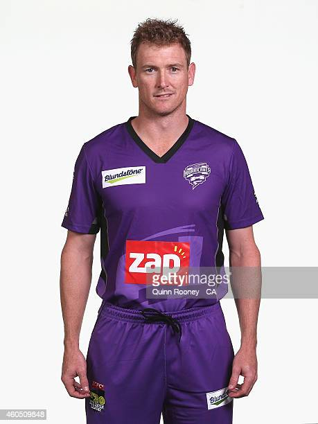 George Bailey of the Hurricanes poses during the Hobart Hurricanes Big Bash League headshots session at the TCA Ground on December 16 2014 in Hobart...