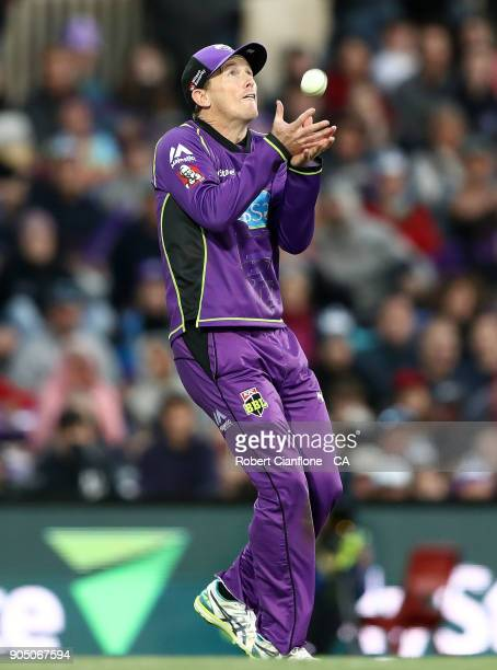 George Bailey of the Hurricanes taks a catch to dismiss Brendon McCullum of the Heat during the Big Bash League match between the Hobart Hurricanes...