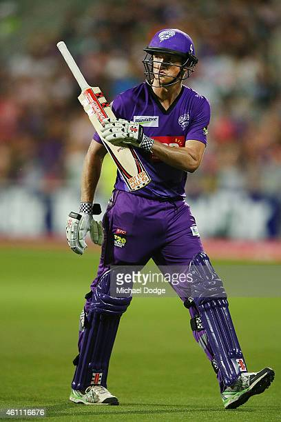 George Bailey of the Hurricanes walks off after being dismissed during the Big Bash League match between the Hobart Hurricanes and the Melbourne...