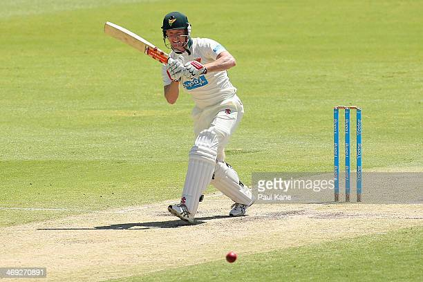 George Bailey of the Tigers bats during day three of the Sheffield Shield match between the Western Australia Warriors and the Tasmania Tigers at the...