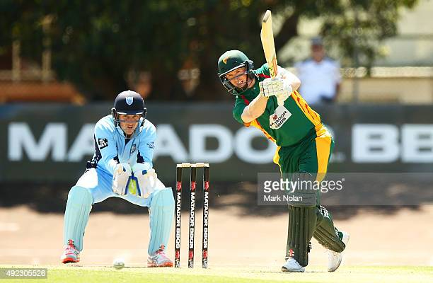 George Bailey of the Tigers bats during the Matador BBQs One Day Cup match between Tasmania and New South Wales at Hurstville Oval on October 12 2015...