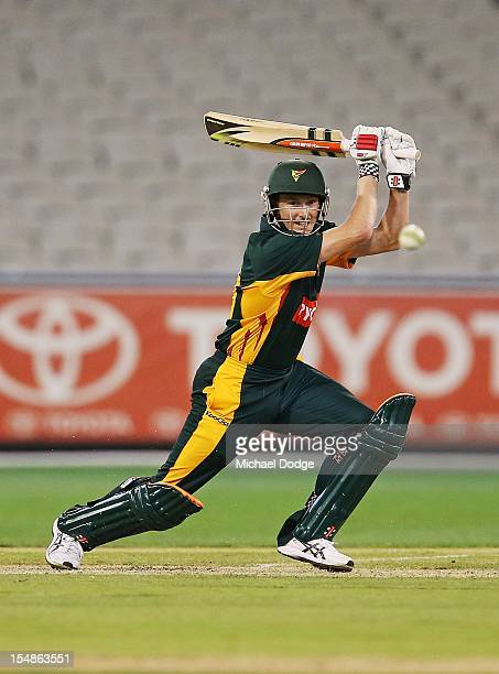 George Bailey of the Tigers bats during the Ryobi One Day Cup match between Victorian Bushrangers and Tasmanian Tigers at Melbourne Cricket Ground on...