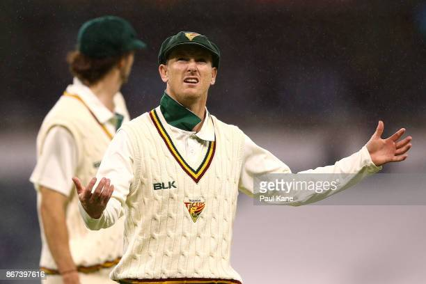 George Bailey of the Tigers gestures while walking from the field as rain delays play during day three of the Sheffield Shield match between Western...