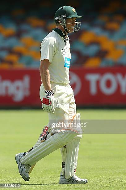 George Bailey of the Tigers leaves the field after being dismissed for a duck by Ryan Harris of the Bulls during day one of the Sheffield Shield...