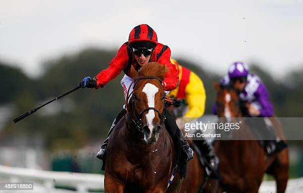 George Baker riding Stormy Antartic win The Haynes Hanson Clark Conditions Stakes at Newbury racecourse on September 18 2015 in Newbury England