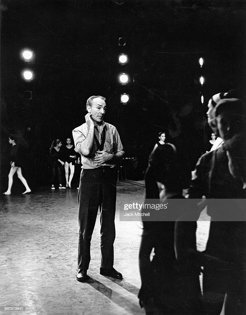 George Balanchine,famed choreographer and Artistic Director of the New York City Ballet, photographed on stage at City Center during a rehearsal of his 'Midsummer Night's Dream' in 1962.