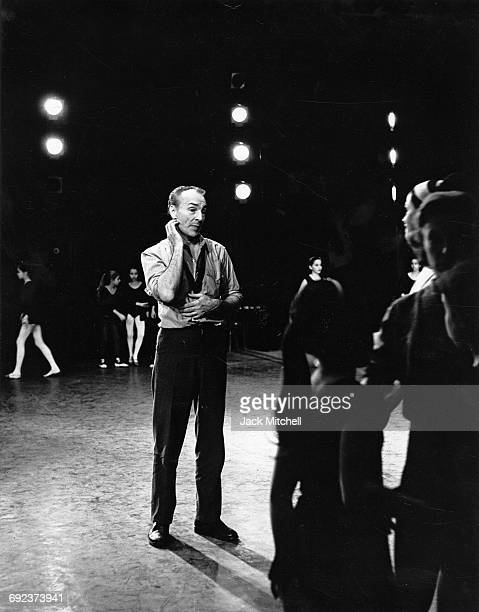 George Balanchinefamed choreographer and Artistic Director of the New York City Ballet photographed on stage at City Center during a rehearsal of his...