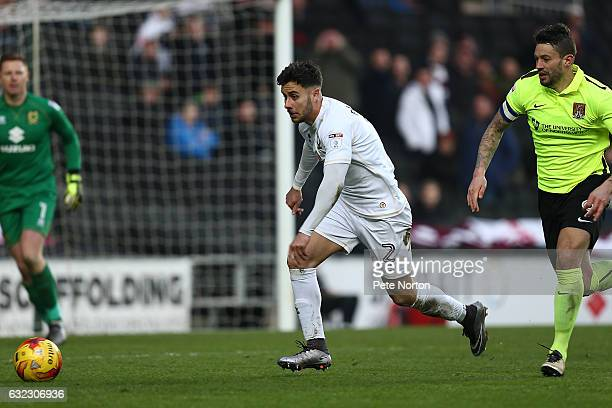 George Baldock of Milton Keynes Dons in action during the Sky Bet League One match between Milton Keynes Dons and Northampton Town at StadiumMK on...
