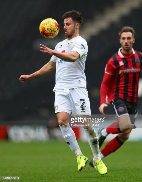 George Baldock of MK Dons during the Sky Bet League One match between MK Dons and Shrewsbury Town at StadiumMK on February 25 2017 in Milton Keynes...
