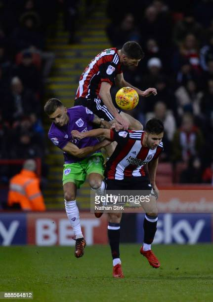 George Baldock of Sheffield United and Jamie Paterson of Bristol City in action during the Sky Bet Championship match between Sheffield United and...