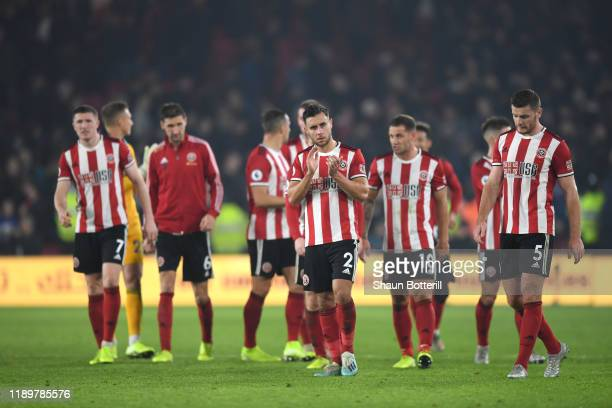 George Baldock of Sheffield United and teammates acknowledge the fans following the Premier League match between Sheffield United and Manchester...
