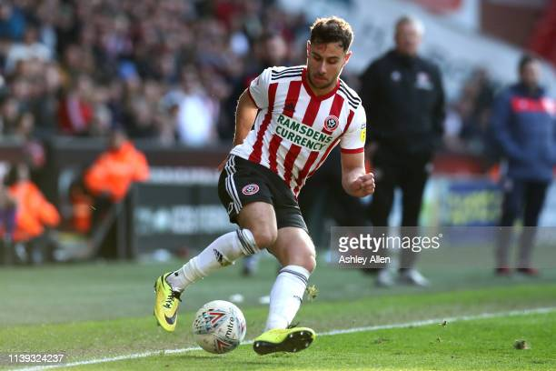 George Baldock of Sheffield United controls the ball during the Sky Bet Championship match between Sheffield United and Bristol City at Bramall Lane...