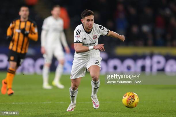 George Baldock of Sheffield United during the Sky Bet Championship match between Hull City and Sheffield United at KCOM Stadium on February 23 2018...