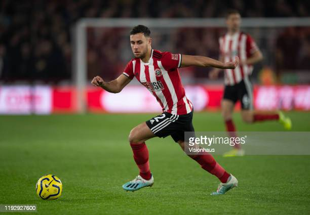 George Baldock of Sheffield United in action during the Premier League match between Sheffield United and Manchester United at Bramall Lane on...