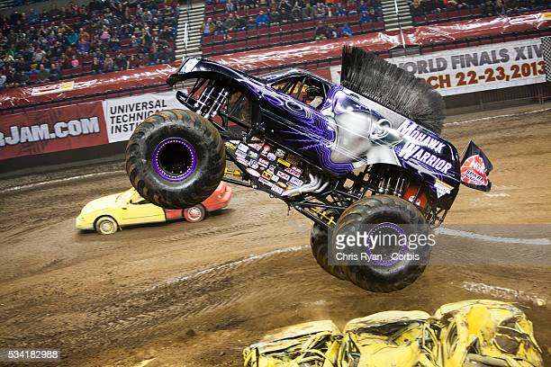 George Balhan driving Mohawk Warrior during a Monster Jam event at Rose Garden arena in Portland Ore