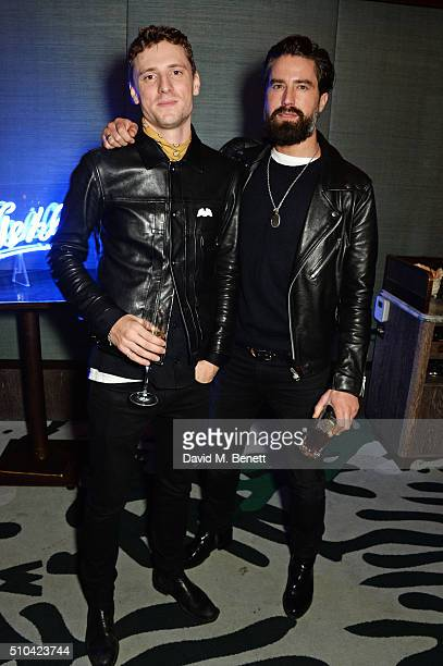 George Barnett and Jack Guinness attend the Kiehl's VIP dinner hosted by Pixie Geldof and Jack Guinness at Sexy Fish on February 15 2016 in London...