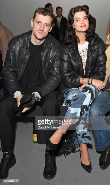 George Barnett and Pixie Geldof attend the Ashley Williams show during London Fashion Week February 2018 at Ambika P3 on February 16 2018 in London...