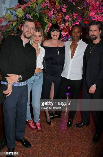 George Barnett, Pixie Geldof, Daisy Lowe, Eric Underwood and Jack Guinness attend the Elite London 10 year anniversary party at Ella Canta in...