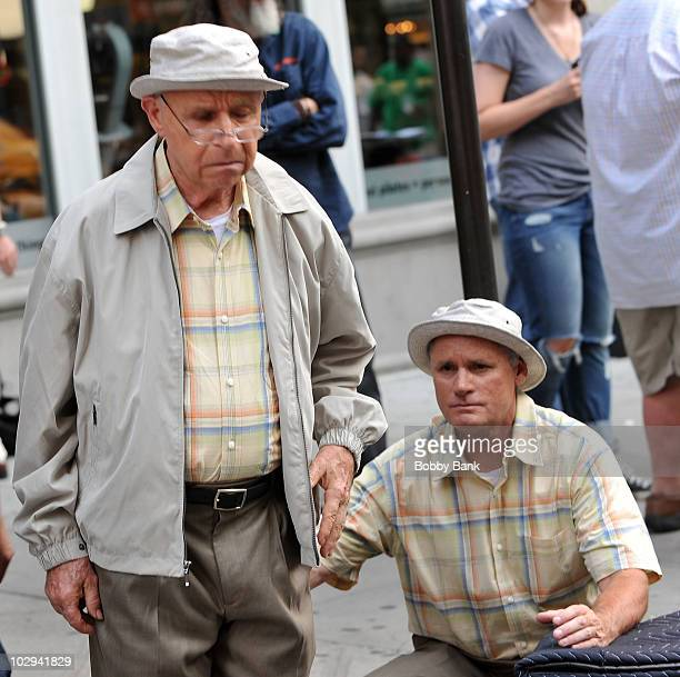 George Bartenieff and his stunt double on location for Curb Your Enthusiasm on the streets of Manhattan on July 16 2010 in New York City