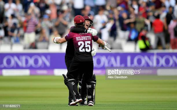George Bartlett and James Hildreth of Somerset celebrate victory during the Royal London One Day Cup Final match between Somerset and Hampshire at...