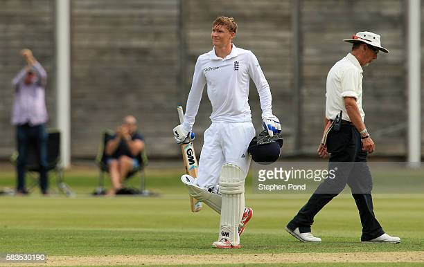 George Bartlett of England celebrates reaching his century of runs during the match between England U19's and Sri Lanka U19's at the University...