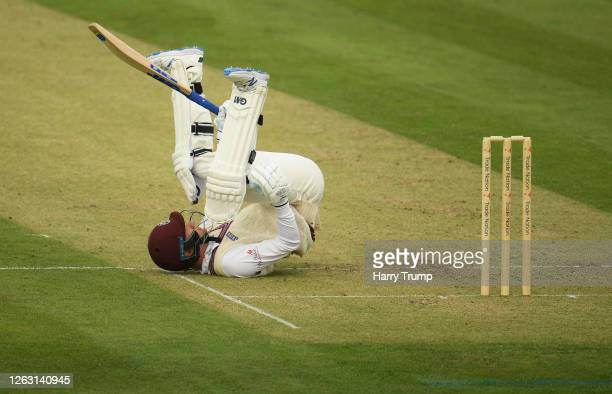 George Bartlett of Somerset attempts to avoid a bouncer during Day One of the Bob Willis Trophy match between Somerset and Glamorgan at The Cooper...
