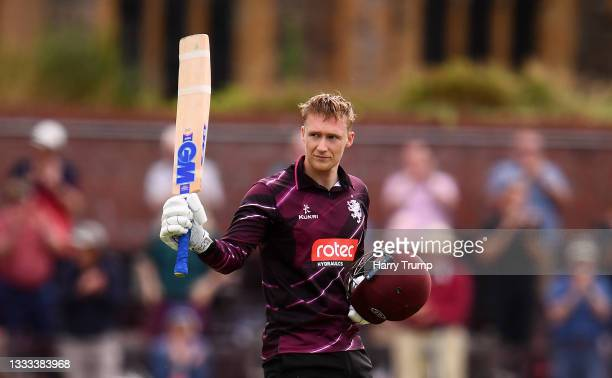 George Bartlett of Somerset celebrates after reaching their century during the Royal London One Day Cup match between Somerset and Leicestershire at...