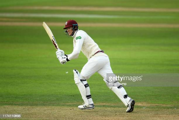 George Bartlett of Somerset plays a shot during Day Three of the Specsavers County Championship Division One match between Somerset and Yorkshire at...