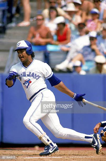 George Bell of the Toronto Blue Jays swings at a pitch during a 1987 game at Exposition Stadium in Toronto Ontario Canada