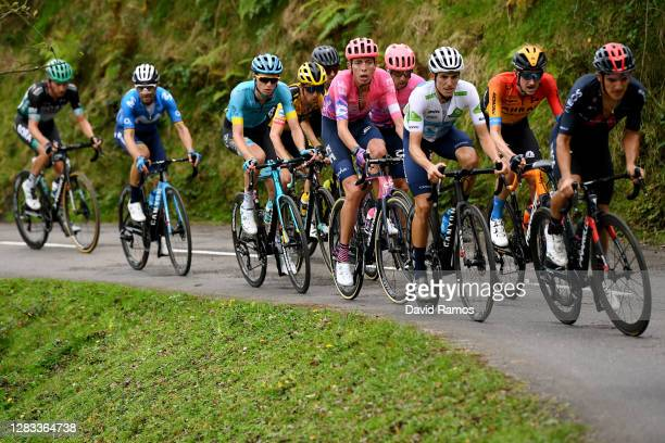 George Bennett of New Zealand and Team Jumbo - Visma / Hugh Carthy of The United Kingdom and Team EF Pro Cycling / Aleksander Vlasov of Russia and...