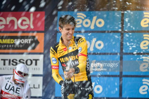 George Bennett of New Zealand and Team Jumbo-Visma celebrates on the podium after winning during the 104th Giro del Piemonte 2020 a 187km race from...