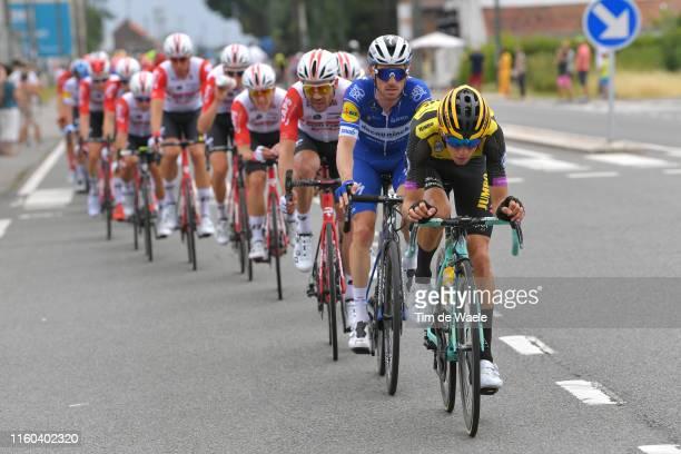 George Bennett of New Zealand and Team Jumbo-Visma / Dries Devenyns of Belgium and Team Deceuninck - Quick-Step / Peloton / during the 106th Tour de...