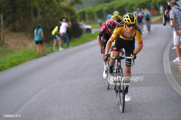 George Bennett of New Zealand and Team Jumbo-Visma / Gianni Moscon of Italy and Team INEOS / during the 104th Giro del Piemonte 2020 a 187km race...