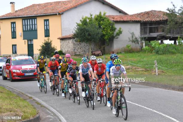 George Bennett of New Zealand and Team LottoNL - Jumbo / Benjamin King of The United States and Team Dimension Data / Nicolas Roche of Ireland and...