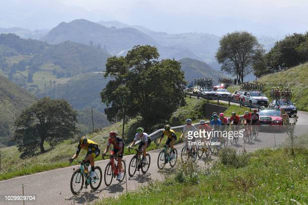 George Bennett of New Zealand and Team LottoNL Jumbo / Benjamin King of The United States and Team Dimension Data / Nicolas Roche of Ireland and BMC...