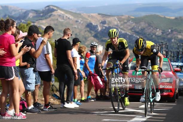 George Bennett of New Zealand and Team LottoNL - Jumbo / Jack Haig of Australia and Team Mitchelton-Scott / Alto de la Camperona / Fans / Public /...