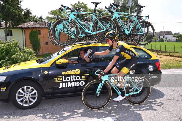 George Bennett of New Zealand and Team LottoNL-Jumbo / Feed Zone / Addy Engels of The Netherlands Sports Director / during the 101st Tour of Italy...