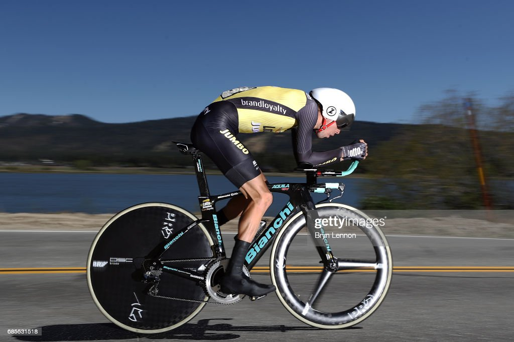 George Bennett of New Zealand and Team LottoNL-Jumbo in action during stage 6 of the AMGEN Tour of California, a 14.9 mile individual time trial around Big Bear Lake on May 19, 2017 in Big Bear Lake, California.