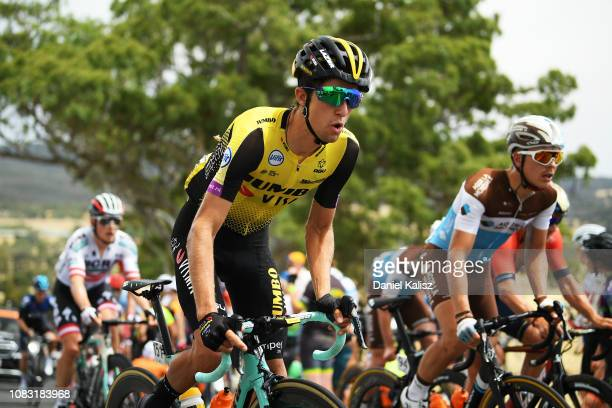 George Bennett of New Zealand of Team Jumbo-Visma competes during stage two of the 2019 Tour Down Under on January 16, 2019 in Norwood, Australia.