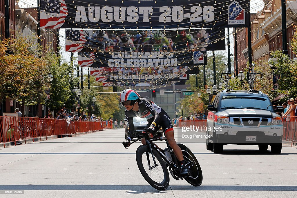George Bennett of New Zealand riding for Radioshack-Nissan competes in the individual time trial during stage seven of the USA Pro Challenge on August 26, 2012 in Denver, Colorado.