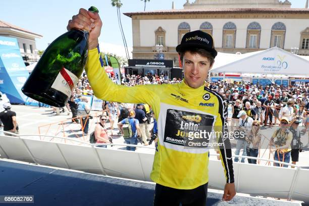 George Bennett of New Zealand riding for Team Lotto NL-Jumbo in the AMGEN Race Leader Jersey celebrates after winning the 2017 AMGEN Tour of...
