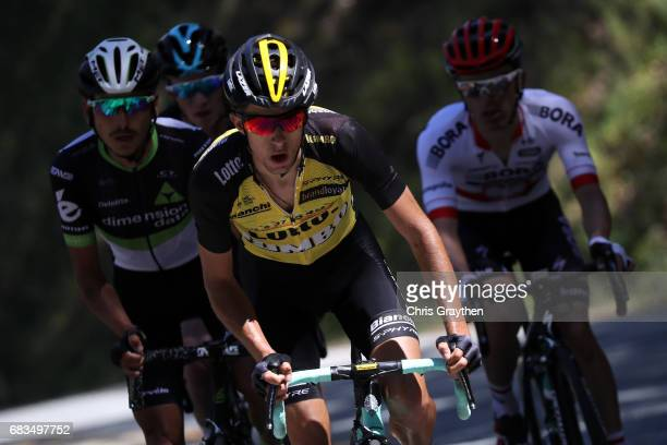 George Bennett of New Zealand, riding for Team Lotto NL-Jumbo rides in the breakaway during stage two of the AMGEN Tour of California from Modesto to...