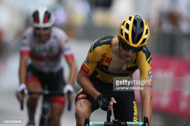 George Bennett of Team Jumbo Visma cycling crosses the finish line to win during the 104th Gran Piemonte road cycling race on August 12, 2020 in...