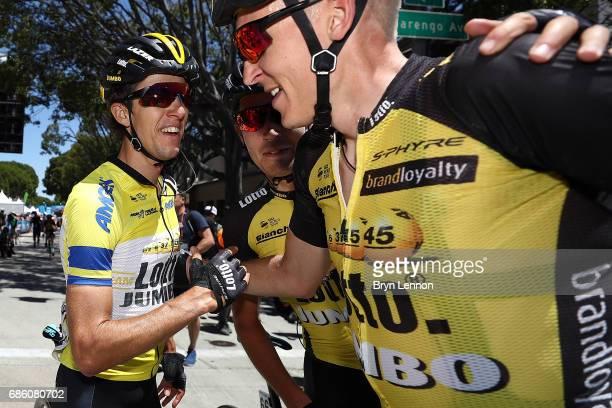 George Bennnett of New Zealand and LottoNLJumbo is congratulated by team mate Robert Gesink of The Netherlands after winning the 2017 AMGEN Tour of...