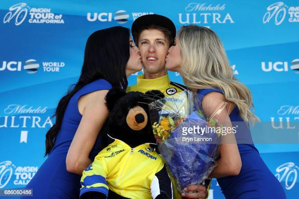 George Bennnett of New Zealand and LottoNL-Jumbo stands on the podium after winning the 2017 AMGEN Tour of California on May 20, 2017 in Wrightwood,...