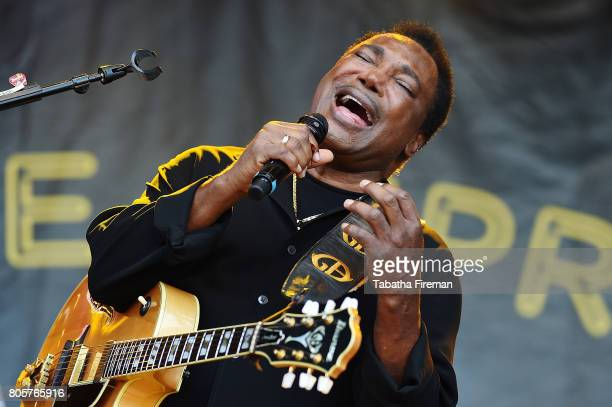 George Benson performs on the Main Stage on Day 3 of Love Supreme Jazz Festival at Glynde Place on July 2 2017 in Lewes England