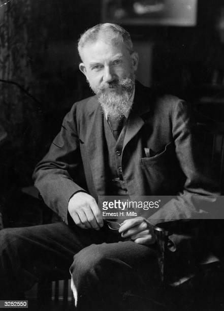 George Bernard Shaw , dramatist, critic, writer, and vegetarian who was born in Dublin.